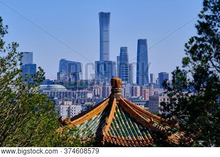 Beijing / China - October 8, 2018: Skyscrapers Of Central Business District In Downtown Beijing, Vie
