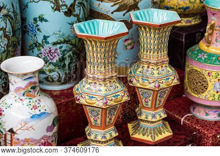 Beijing / China - January 16 2016: Porcelain At The Panjiayuan Antique Market, Beijing Antique Marke