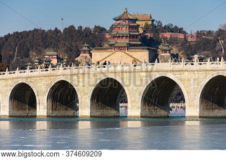 Beijing / China - January 17, 2016: Seventeen Arch Bridge, Shiqikong Qiao In The Summer Palace, With