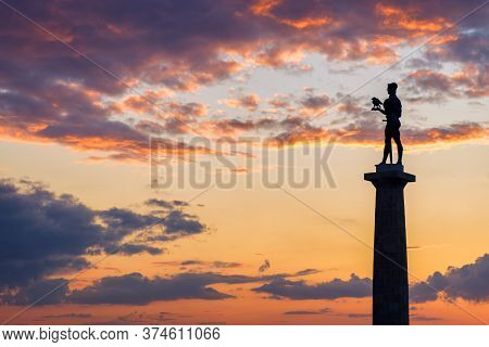 Belgrade / Serbia - May 30, 2020: Silhouette Of Victor Monument, Symbol Of Belgrade, With Beautiful