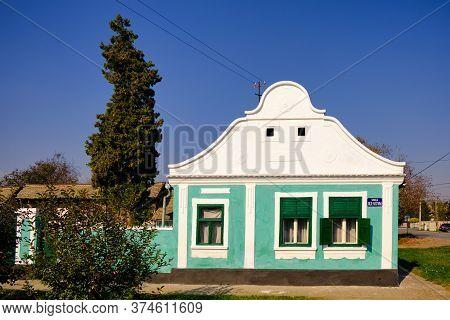 Kovilj, Vojvodina / Serbia - October 20, 2019: Traditional Style House In Kovilj In Backa Region Of