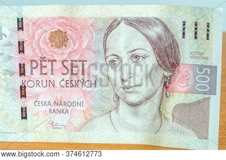 Portrait Of Bozena Nemcova On 500 Czk Czech Koruna Banknote. Bozena Nemcova Was A Czech Writer Of Th