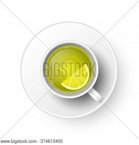 Realistic 3d Cup Of Hot Aromatic Freshly Brewed Drink Green Tea With Lemon. A Teacup Top View Isolat