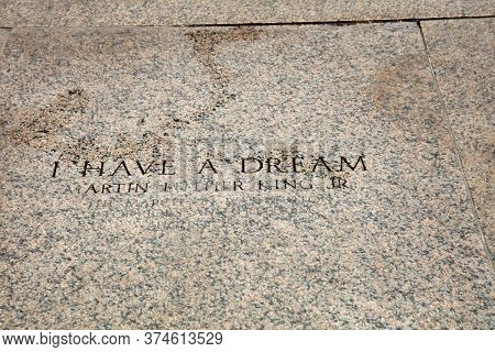 Washington D.c., Usa - May 02, 2019: Inscription At The Lincoln Memorial, 'i Have A Dream'. It Marks