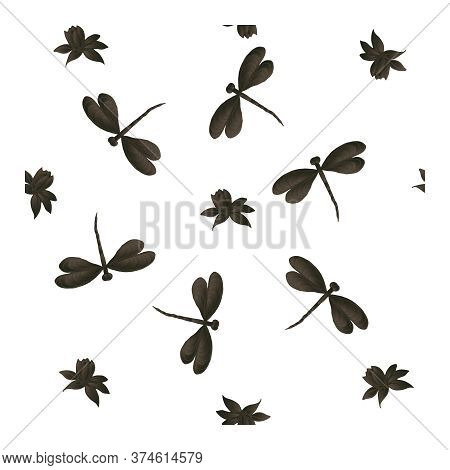 Seamless Pattern With Black And Gray Dragonflies And Flowers On A White Background. Dragonfly Patter