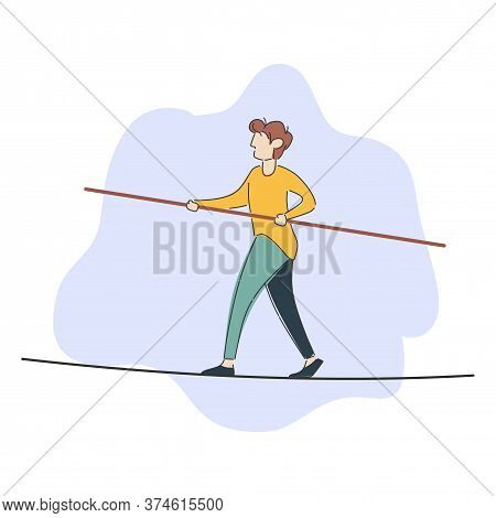 Man Walking Balancing With Briefcase On Long Wire Tightrope Risk Danger Business Challenge Human Det