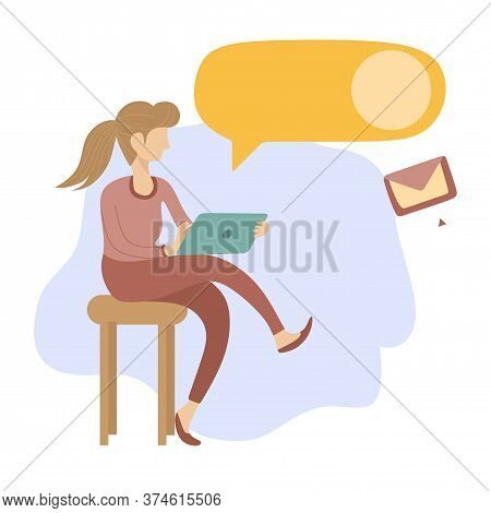 Woman With Laptop Communicates Online. Credit Project. Vector Illustration. Worker. Mobile App. Onli