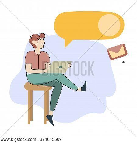 Man With Laptop Communicates Online. Credit Project. Vector Illustration. Worker. Mobile App. Online