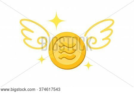 Currency Money Gold Coin And Wing, Icon Libra Currency Golden Coin And Wings Fly Concept, Symbol Lib