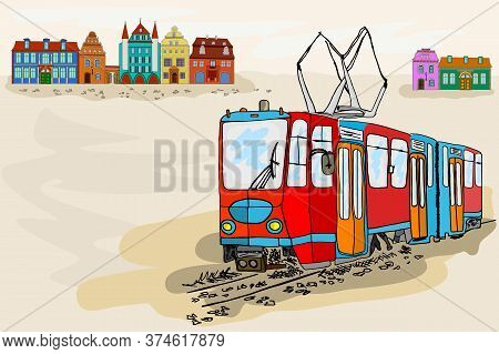 Old City Banner With Tram. Retro Tram Poster With Old Town Scene, Historical Streetcar And Vintage H