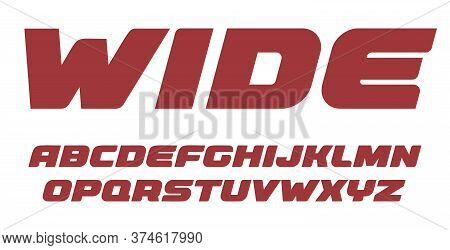 Wide Bold Letters Set, Heavy Alphabet, Bold Italic Style Alphabet. Weight Font For Gym, Auto, Race O