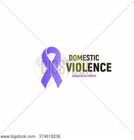 Abused Victims Support Logo. Domestic Violence Logotype. Purple Ribbon Against Home Abuse And Bullin