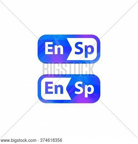 English Spanish Dictionary Logo. Foreign Language Phrasebook Logotype. Translation Button Icon. Isol