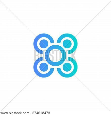 Business Collaboration, Team Building Meeting Icon. Team Cooperation Sign. Blue Round Table On White