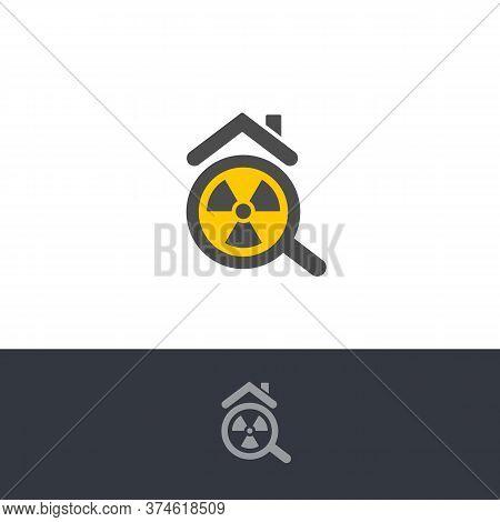 Isolated Poisonous Radon Contamination, Chemical Element Logo. Radioactive Building, House Caution I