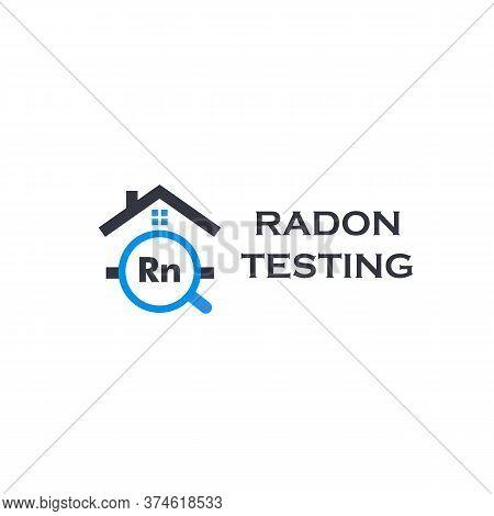 Home Radon Testing Service Logo. Rn Pollution First Alert Kit, Remediation Logotype. Dangerous Poiso