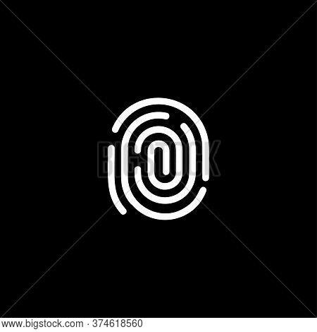 Fingerprint Identification App Scanner Logo. White Thumbprint Verification, Biometric Identity Syste