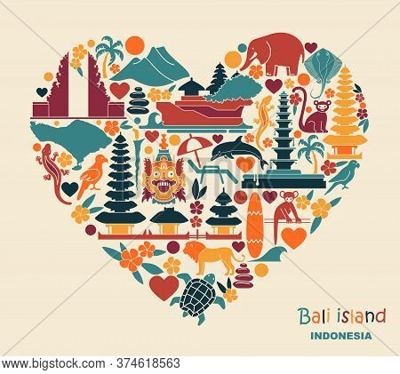 Traditional Symbols Of Architecture, Culture And Nature Of Bali Islands, Indonesia Heart Shaped