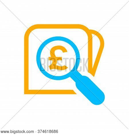 Magnifying Glass With Pound Currency Money Search Icon, Pound Coin With Magnifying Glass For Button