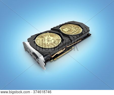 Bitcoin Mining Powerful Video Cards To Mine And Earn Cryptocurrencies Concept Isolated On Blue Gradi