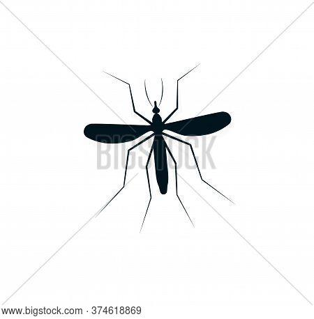 Anopheles Mosquito Logo. Dangerous Bloodsucking Insect Logotype. Flying Dengue Disease Carrier Icon.