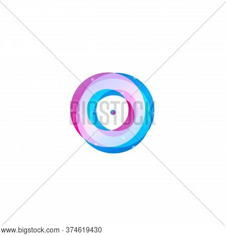 Astrology Abstract Logo Concept. Ultraviolet Torus, Circles With Point. Round Logotype Template Mini