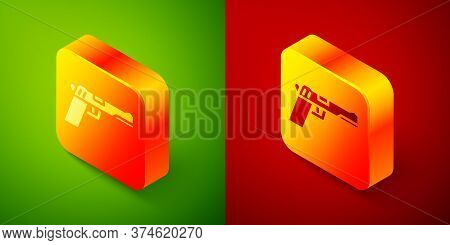 Isometric Pistol Or Gun Icon Isolated On Green And Red Background. Police Or Military Handgun. Small
