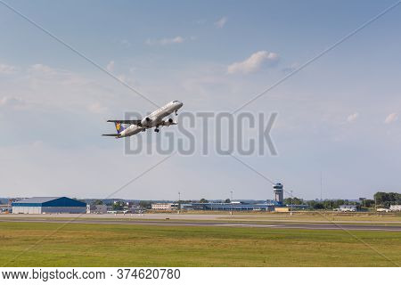 Gdansk, Poland- 03 August 2015: Aircraft Line Lufthansa Taking Off The Airport Runway. The Lech Wale