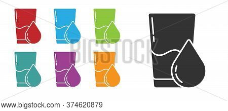 Black Glass With Water Icon Isolated On White Background. Soda Glass. Set Icons Colorful. Vector Ill