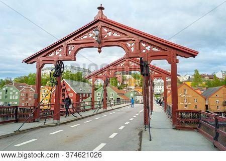 Trondheim, Norway, May 2015: Old Bridge (norwegian: Gamle Bybru) With Historical Wooden Gate, Crosin