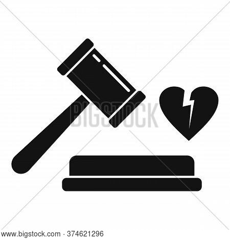 Judge Break Divorce Icon. Simple Illustration Of Judge Break Divorce Vector Icon For Web Design Isol