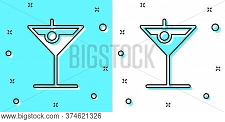 Black Line Martini Glass Icon Isolated On Green And White Background. Cocktail Icon. Wine Glass Icon