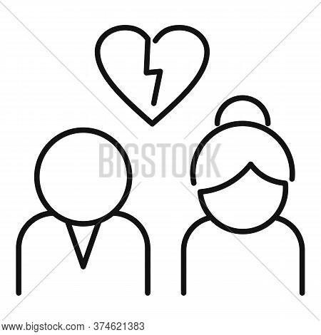 Divorce Icon. Outline Divorce Vector Icon For Web Design Isolated On White Background