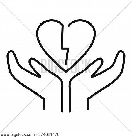 Divorce Break Heart Icon. Outline Divorce Break Heart Vector Icon For Web Design Isolated On White B