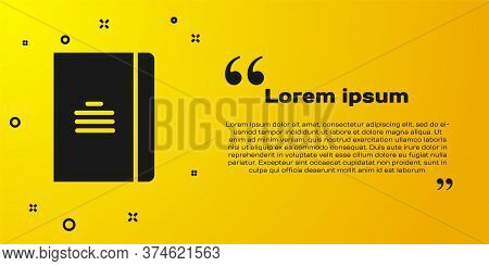 Black Notebook Icon Isolated On Yellow Background. Spiral Notepad Icon. School Notebook. Writing Pad