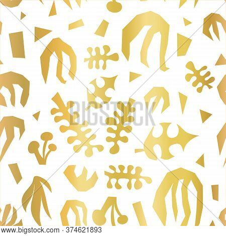 Abstract Plants Summer Collage Seamless Vector Pattern Faux Metallic Gold Foil On White. Contemporar