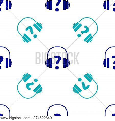 Blue Headphones Icon Isolated Seamless Pattern On White Background. Support Customer Service, Hotlin