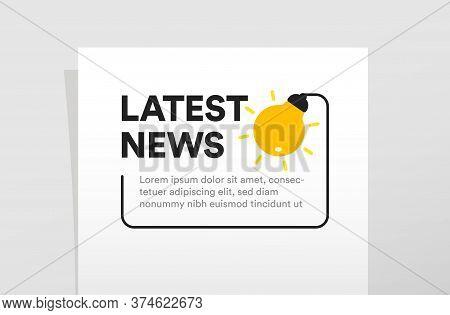 Isolated Latest News Poster Template. Light Bulb Vector Illustration. Lighting Icon, Business Brochu