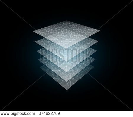 Data Center Industry, Cyberspace Vector Illustration. 3d It Sphere Element. Computing And Networking