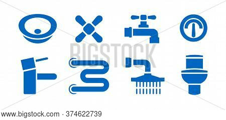 Bathroom Plumbing Equipment Isolated Icons Set. Vector Illustrations Of Leaking Pipes, Heating Towel