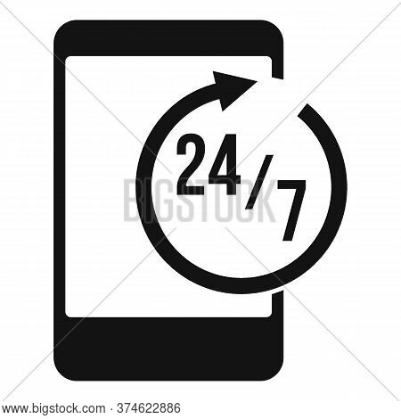 24 Hours Service Center Icon. Simple Illustration Of 24 Hours Service Center Vector Icon For Web Des