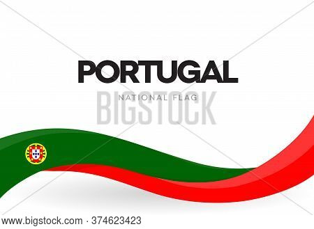 Portuguese Waving Flag Banner. Portugal Restoration Of Independence Anniversary Poster. National Hol