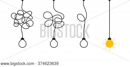 Complex Complicated Process Easy Solution, Simplify Problem, Untangling Mess Knot In Simple Line, Si