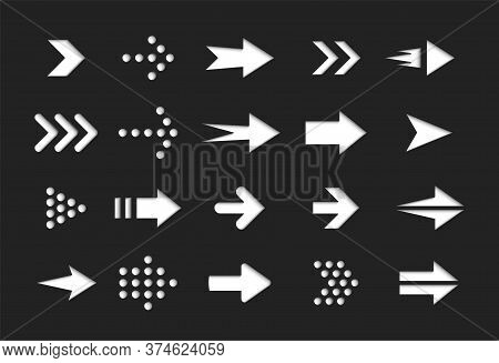 White Arrows On Black Background, Vector Icons Set, Interface Isolated Symbols Pack. Next, Forward,