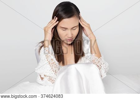 Have A Headache, On A Gray Background, Women In White Nightgown & Long Sleeve Satin Robe With Floral