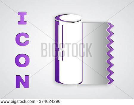 Paper Cut Textile Fabric Roll Icon Isolated On Grey Background. Roll, Mat, Rug, Cloth, Carpet Or Pap