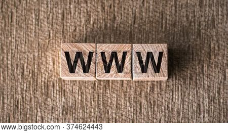 Www Website Url Address Three Word On Wooden Cube Block, Minimal Background Concept For Internet Con