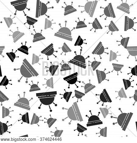 Black Needle Bed And Needles Icon Isolated Seamless Pattern On White Background. Handmade And Sewing