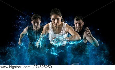 Sport collage. Man and woman on smoke background. Sports banner. Horizontal copy space background