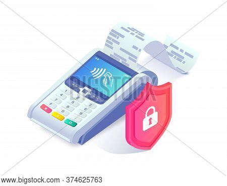 Safe Contactless Payments Isometric Concept. 3d Payment Machine Printing Check Behind Shield Isolate